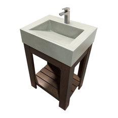 "24"" Lavare  Vallum Concrete Vanity Bathroom Sink, White Linen, No Hole"