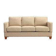 Raleigh Quick Assembly Three Seat Oak Leg Sofa, Buff