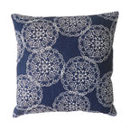 Ikat Medallion Pillow Cover, Navy