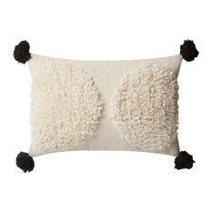 "Loloi x Justina Blakeney Ivory/Black Polyester Filled Throw Pillow 13""x21"""