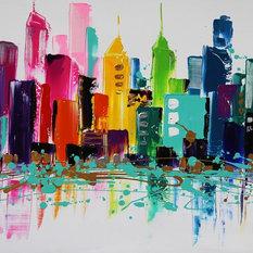 """LibertyCity"" Acrylic Painting, 115x80 cm"