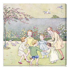 """Oliver Gal Olivia's Easel """"Ring Around the Rosy"""" Canvas Art, Silver, 43""""x43"""""""