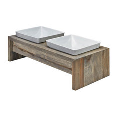 Artisan Rubberwood Double Elevated Dog Bowl Feeder, Fossil, Small