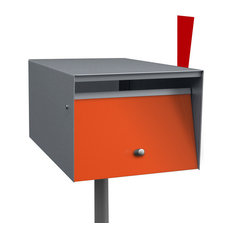 Stainless Steel Letterbox, Orange, Stainless Steel Post, Letterbox Flag