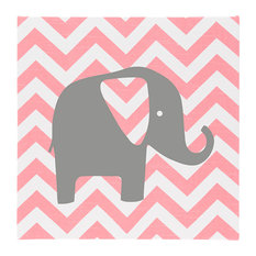 Swizzle Chevron With Elephnt Canvas Wall Art, Pink