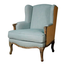 New Pacific Direct Inc.   Marie Wing Arm Chair, Soft Blue, Burlap