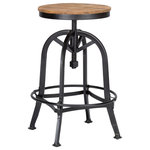 Kosas Home - Orvelle Reclaimed Pine Adjustable Barstool by Kosas Home - Underline your kitchen counter in raw utilitarian style with the Orvelle Reclaimed Pine Bar Stool by Kosas. This hardworking seat is forged from iron and reclaimed wood with an adjustable height, providing a sturdy and reliable spot to enjoy a cold one after punching the clock. Kosas evokes industrial zeal with pieces that fuse style and practicality.