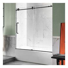"""ANZZI Raymore 60""""x62"""" Frameless Sliding Tub Door, Matte Black"""
