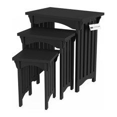 Lavish Home Nesting Tables, 3-Piece Set Mission Style, Black