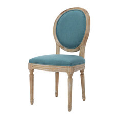 GDF Studio Phinnaeus French Country Fabric Dining Chairs (Set of 2), Dark Teal