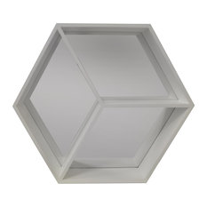 Hexagon Wall Mounted Cube Shelf With Mirror, White