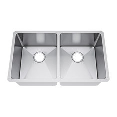 "31""x18"" Double Bowl 50/50 Undermount Kitchen Sink, Without Strainer"