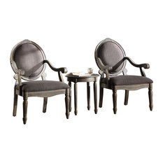 Khloe Accent Arm Chair And Table Set Antique-Style Gray 3-Piece Set