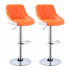 Set of 2 Bar Stools Upholstered, Faux Leather, Adjustable Height, Orange