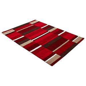 Funky Wool Rug, Red Blocks, 90x150 cm