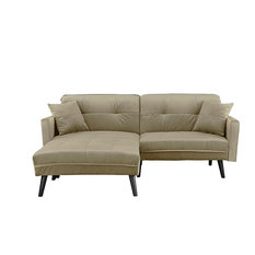 Bon Sofamania   Mid Century Modern Brush Microfiber Sleeper Sofa Bed, Beige   Sleeper  Sofas