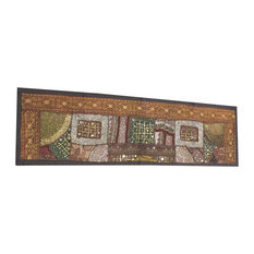 Mogul Interior - Consigned Antique Fabric, Brown Sari Patchwork Sequin Embroidered Tapestry - Table Runners