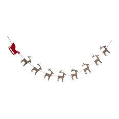 Felt Reindeer and Sleigh Christmas Garland