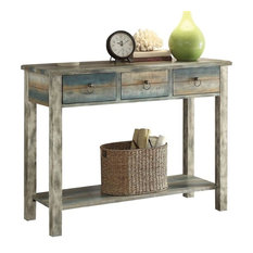 Acme Glancio Console Table Antique White And Teal
