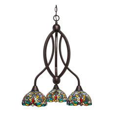 "Bow 3 Light Chandelier Bronze Finish, 7"" Kaleidoscope Tiffany Glass"