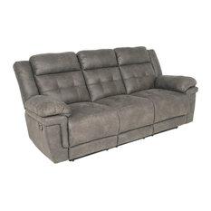 Steve Silver Anastasia Recliner Sofa, Gray Finish