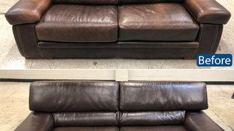 Leather loveseat color restoration