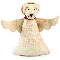 Handmade Felt Dog Angel Tree Topper in White