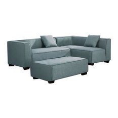 Reversible Fabric Upholstered Sectional Sofa With Ottoman Gray