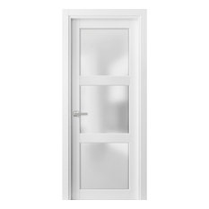 Solid French Door Frosted Glass 3 Lites 30x80 | Lucia 2552 Matte White