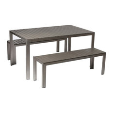 Uncomplicated  Anodized Aluminum Table And Bench Set In Gray (Set Of 3)