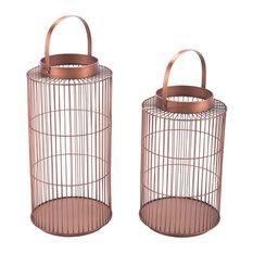 2-Piece Set Metal Lanterns, Bronze