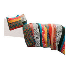 Boho Stripe 3-Piece Turquoise and Tangerine Quilt, King