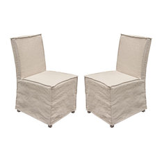 Sonoma 2-Pack Dining Chairs With Wood Legs And Sand Linen Removable Slipcover