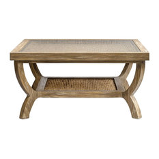 Uttermost   Cameron Weathered Oak, Water Hyacinth And Glass Square Coffee  Table   Coffee Tables