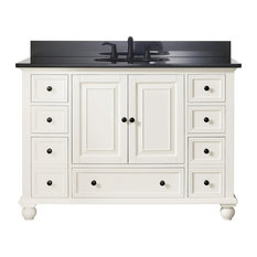 "Avanity Thompson 49"" Vanity, French White Finish, Black Granite Top"