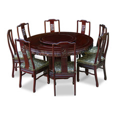 60-inch Rosewood Dragon Round Dining Table With 8 Chairs