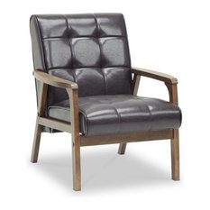 Baxton Studio - Baxton Studio Mid-Century Masterpieces Club Chair, Brown - Armchairs and Accent Chairs