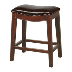 New Pacific Direct Inc. - Elmo Bonded Leather Counter Stool Saddle Brown - Bar  sc 1 st  Houzz & Leather Bar Stools and Counter Stools with Nailhead Trim | Houzz islam-shia.org