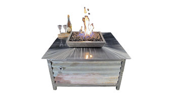 IMPACT Fire Table, Stainless Steel, Rustic Style, Square, LP or Natural Gas, Nat