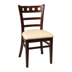 Enzing Kitchen Dining Chair, Walnut With Ivory Faux Leather Seat