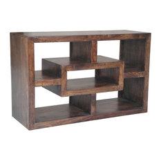Yoga Straight Geometric Mango Wood TV Stand, Walnut Finish