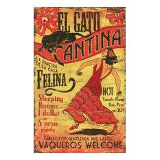 """El Gato Vintage Wooden Sign, 15""""x26"""""""