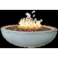 "48"" Concrete Fire Pit Bowl, Natural, Crushed Black Lava Filling, Natural Gas, Cr"