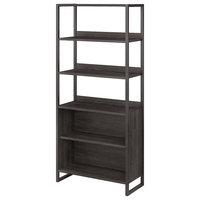 Office by kathy ireland Atria 5 Shelf Bookcase in Charcoal Gray