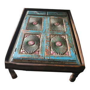 Mogul Interior - Consigned Blue Hand-Carved Old Spanish-Style Antique Coffee Table - Coffee Tables
