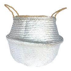 Seagrass Basket, White/Metallic Silver