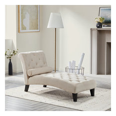 Tufted Top Chaise Lounge, Beige