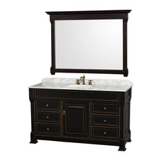 "Wyndham Collection 60"" andover Black Single Round Sink Vanity and 56"" Mirror"