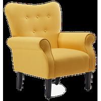 High Wingback Linen Armchair, Citrine Yellow