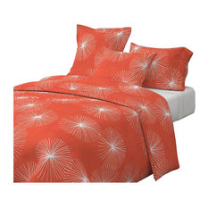 Dandelions On Watermelon Red Red Floral Cotton Duvet Cover, King